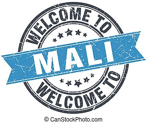 welcome to Mali blue round vintage stamp