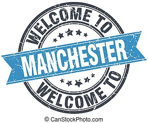 welcome to Manchester blue round vintage stamp