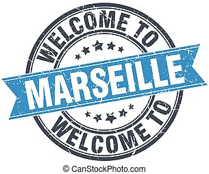 welcome to Marseille blue round vintage stamp