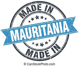 made in Mauritania blue round vintage stamp