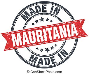 made in Mauritania red round vintage stamp