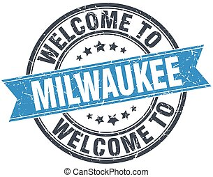 welcome to Milwaukee blue round vintage stamp