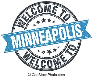 welcome to Minneapolis blue round vintage stamp
