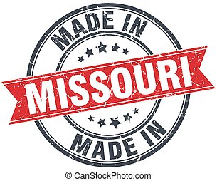 made in Missouri red round vintage stamp