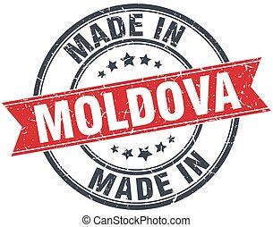 made in Moldova red round vintage stamp
