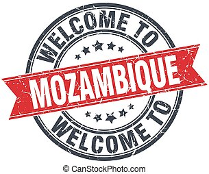 welcome to Mozambique red round vintage stamp