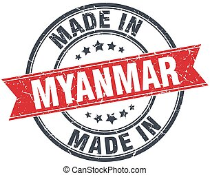 made in Myanmar red round vintage stamp