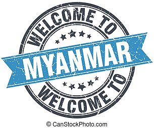 welcome to Myanmar blue round vintage stamp