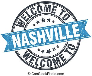 welcome to Nashville blue round vintage stamp