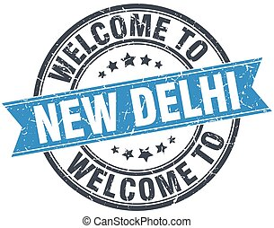 welcome to New Delhi blue round vintage stamp