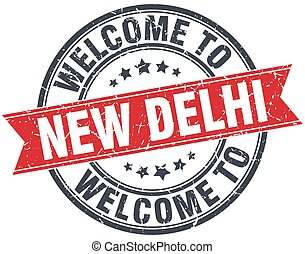 welcome to New Delhi red round vintage stamp