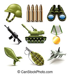Army icons vector set - Army icons detailed photo realistic...