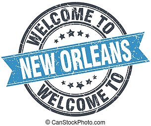 welcome to New Orleans blue round vintage stamp