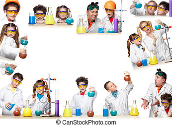 The collage from images of boys and girls as chemist doing...