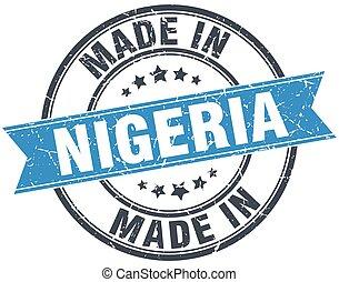 made in Nigeria blue round vintage stamp