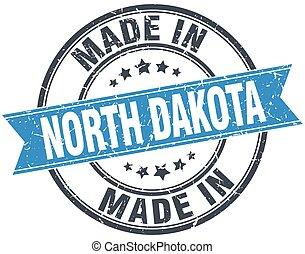 made in North Dakota blue round vintage stamp
