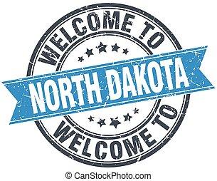 welcome to North Dakota blue round vintage stamp