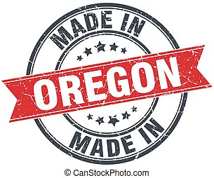 made in Oregon red round vintage stamp