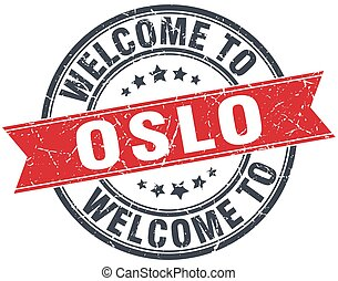 welcome to Oslo red round vintage stamp