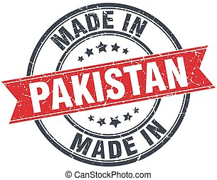made in Pakistan red round vintage stamp