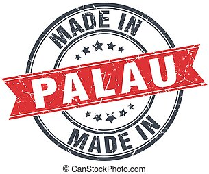 made in Palau red round vintage stamp