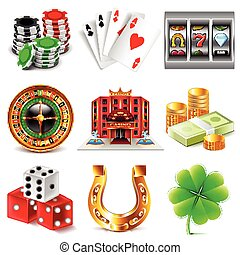 Casino and gambling icons vector set - Casino and gambling...