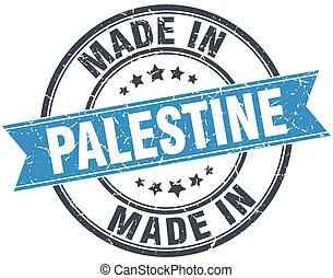 made in Palestine blue round vintage stamp