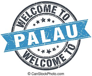 welcome to Palau blue round vintage stamp
