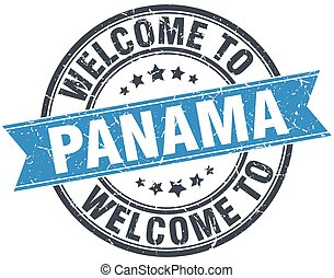 welcome to Panama blue round vintage stamp