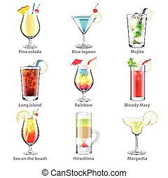 Cocktails icons vector set - Cocktails icons detailed photo...