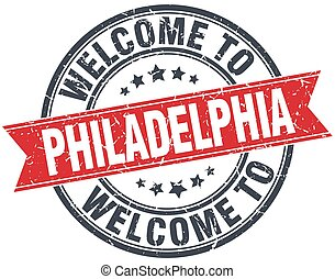welcome to Philadelphia red round vintage stamp