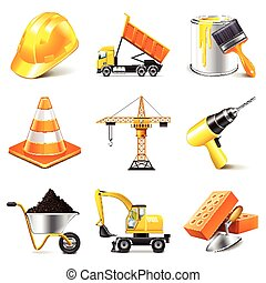 Construction icons vector set - Construction icons detailed...