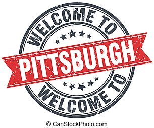 welcome to Pittsburgh red round vintage stamp