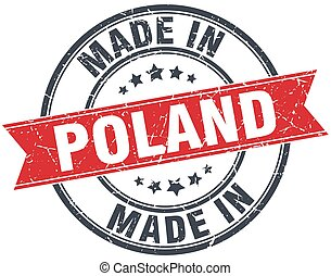 made in Poland red round vintage stamp