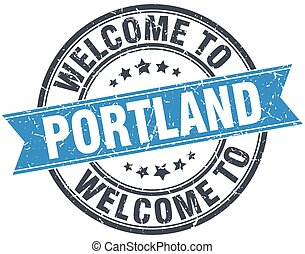 welcome to Portland blue round vintage stamp