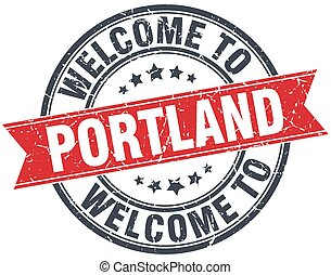 welcome to Portland red round vintage stamp
