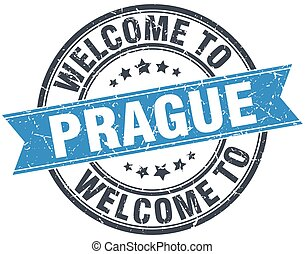 welcome to Prague blue round vintage stamp