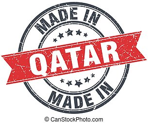 made in Qatar red round vintage stamp
