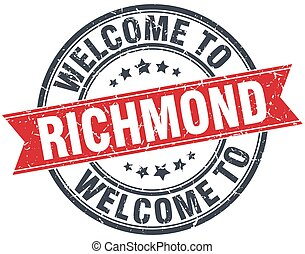 welcome to Richmond red round vintage stamp