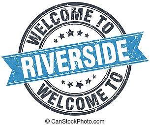 welcome to Riverside blue round vintage stamp