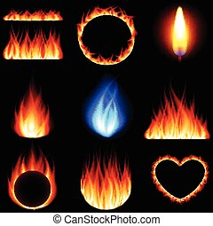Fire forms icons vector set - Fire forms icons detailed...