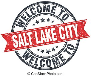 welcome to Salt Lake City red round vintage stamp