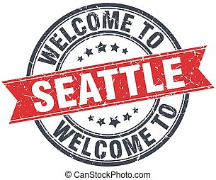 welcome to Seattle red round vintage stamp