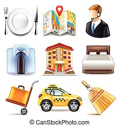 Hotel icons vector set - Hotel icons detailed photo...