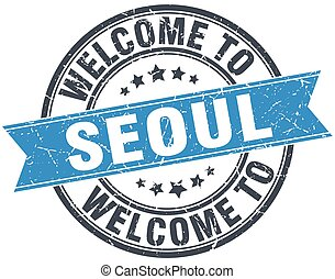 welcome to Seoul blue round vintage stamp