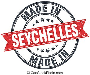 made in Seychelles red round vintage stamp