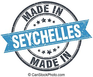 made in Seychelles blue round vintage stamp