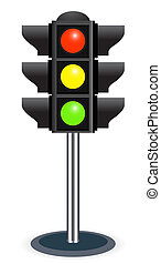 traffic lights isolated on white background Bitmap version