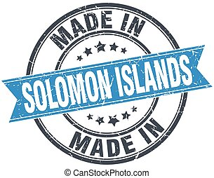 made in Solomon Islands blue round vintage stamp