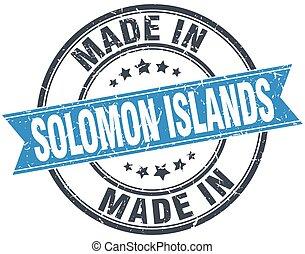 made in Solomon Islands blue round vintage stamp